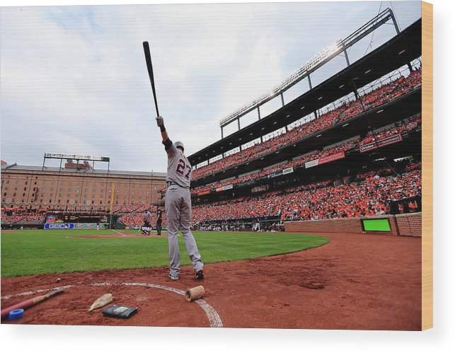 Andrew Romine Wood Print featuring the photograph Division Series - Detroit Tigers V by Rob Carr
