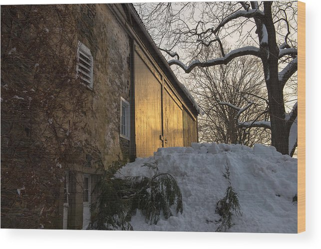 Barn Wood Print featuring the photograph Door Reflections by Scott Hafer