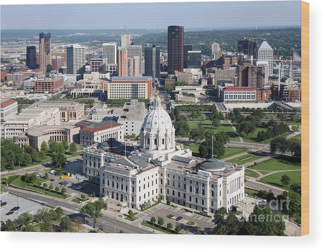 Aerial Wood Print featuring the photograph Downtown Skyline St. Paul Minnesota by Bill Cobb