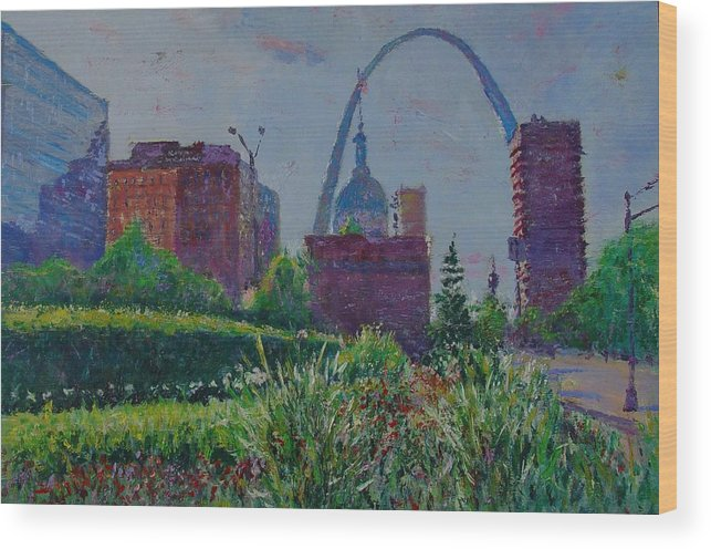 Cityscape Wood Print featuring the painting Downtown St. Louis Garden by Horacio Prada