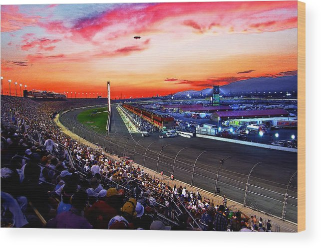 Racetrack Wood Print featuring the photograph Dusk At The Racetrack by Wayne Wood