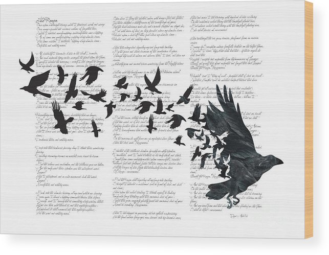 Crow Wood Print featuring the digital art Edgar Alan Crow by Sassan Filsoof