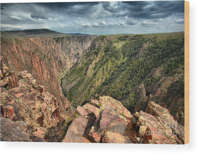 Black Canyon Wood Print featuring the photograph Edge Of The Black Canyon by Adam Jewell