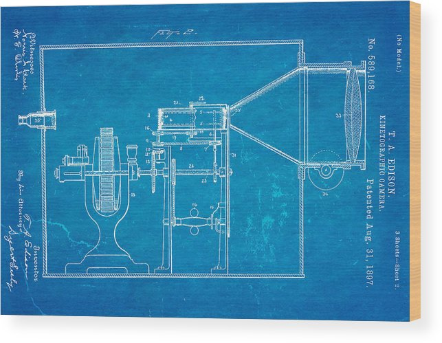 Electricity Wood Print featuring the photograph Edison Motion Picture Camera Patent Art 2 1897 Blueprint by Ian Monk