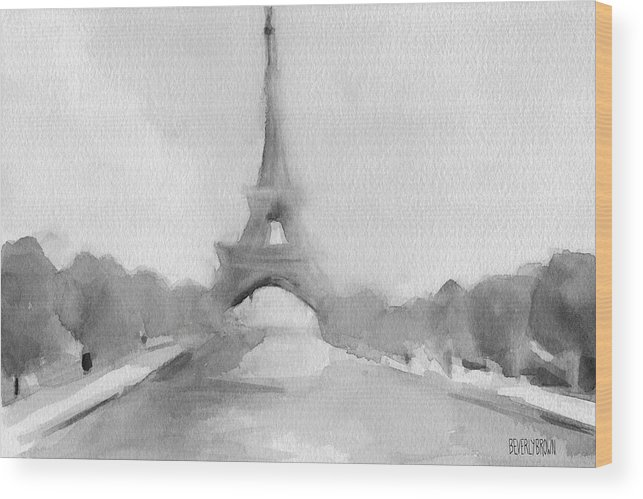 Paris Wood Print featuring the painting Eiffel Tower Watercolor Painting - Black And White by Beverly Brown Prints