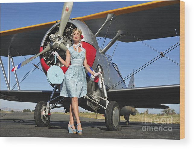 Classic Wood Print featuring the photograph Elegant 1940s Style Pin-up Girl by Christian Kieffer