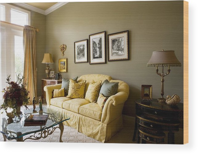 Elegant Living Room With Gold Sofa Wood Print