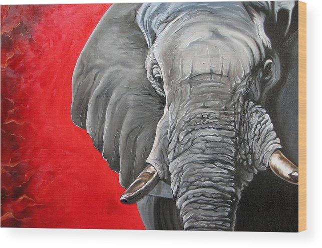 Wildlife Wood Print featuring the painting Elephant by Ilse Kleyn