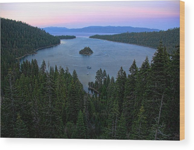 Randy Wehner Wood Print featuring the photograph Emerald Bay Sunset by Randy Wehner Photography
