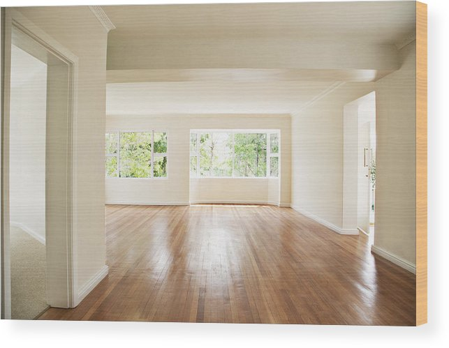Empty Living Room With White Walls Wood Print