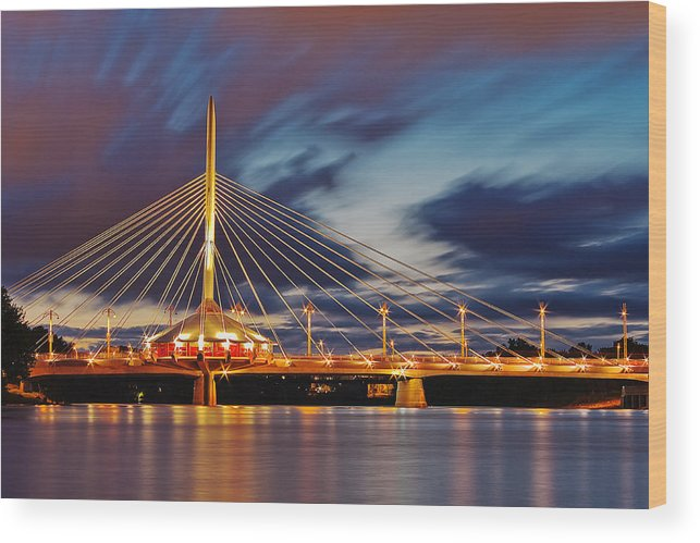 Manitoba Photograph Wood Print featuring the photograph Esplanade Riel by Nebojsa Novakovic