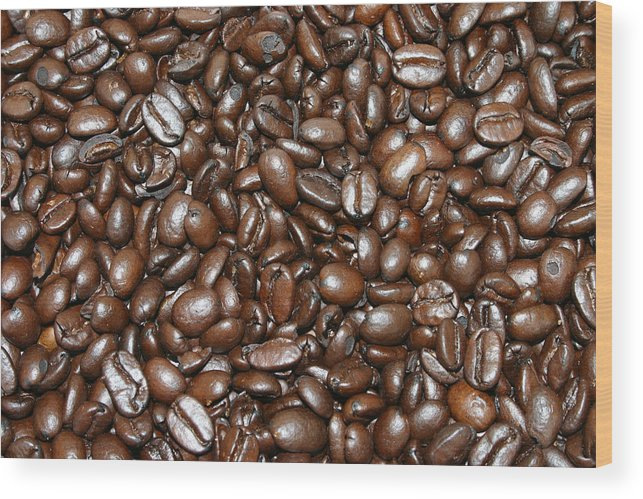 Food Wood Print featuring the photograph Espresso Beans by Wendy Raatz Photography