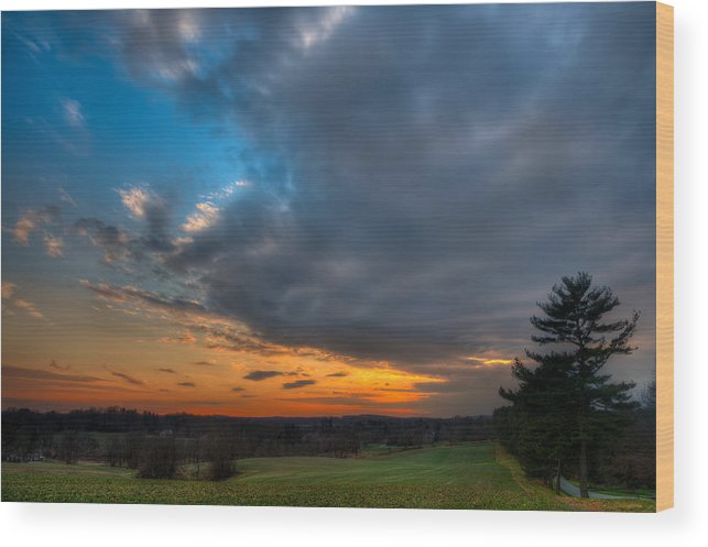 Sunset Wood Print featuring the photograph Evening Slides In by Gavin Baker