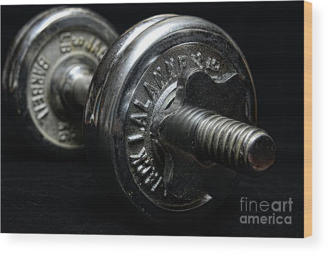 Paul Ward Wood Print featuring the photograph Exercise Vintage Chrome Weights by Paul Ward