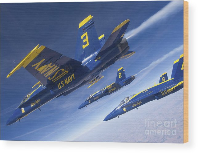Military Wood Print featuring the photograph Fa-18 Hornets Of The Blue Angels Fly by Stocktrek Images