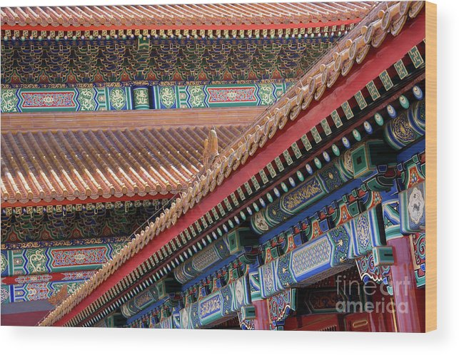 Architecture Wood Print featuring the photograph Facade Painting Inside The Forbidden City In Beijing by Julia Hiebaum