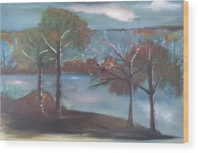 Wood Print featuring the painting Fall At The Lake by Gregory Dallum