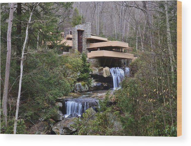 Falling Water Wood Print featuring the photograph Falling Water By Frank Lloyd Wright by David Knowles