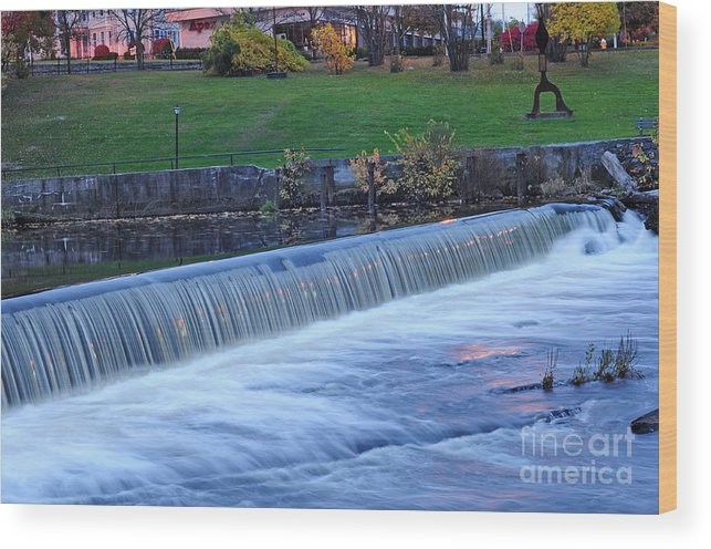 Rhode Island Wood Print featuring the photograph Falls At Slater Mill by Alex Arig