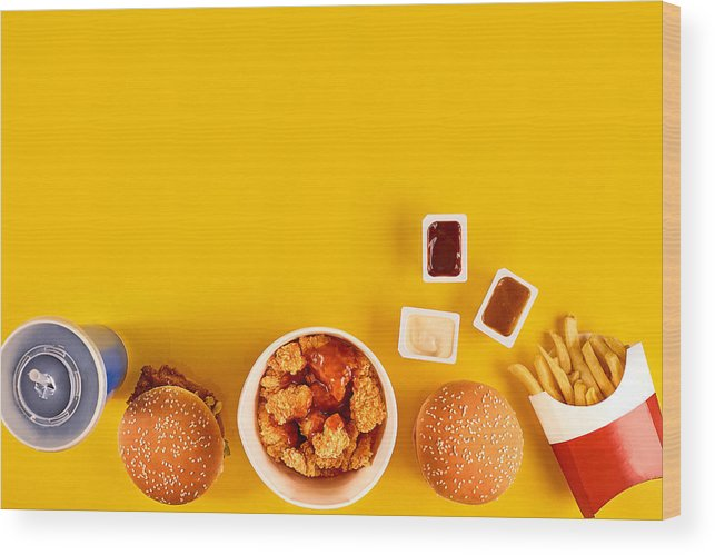 Financial Figures Wood Print Featuring The Photograph Fast Food Dish Top View Meat Burger