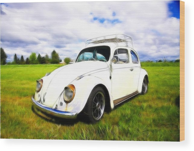 Vw Bug Wood Print featuring the photograph Field Bug by Steve McKinzie