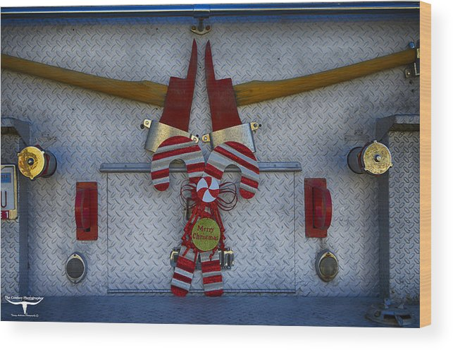 Christmas Wood Print featuring the photograph Fire Department Christmas 3 by Tommy Anderson