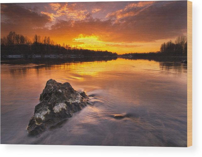 Landscapes Wood Print featuring the photograph Fire On The Sky by Davorin Mance