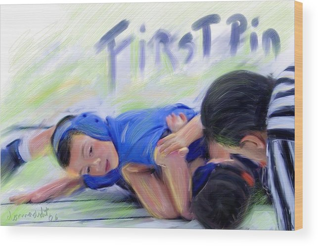 Sports Wood Print featuring the digital art First Pin by Donna Martin
