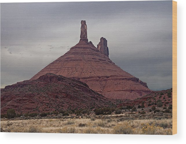 Desert Landscape Wood Print featuring the photograph Fisher Tower by Eric Nelson