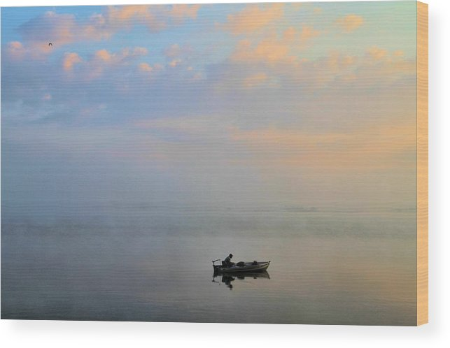 Solitude Wood Print featuring the photograph Fisherman's Solitude In Ohio by Dan Sproul