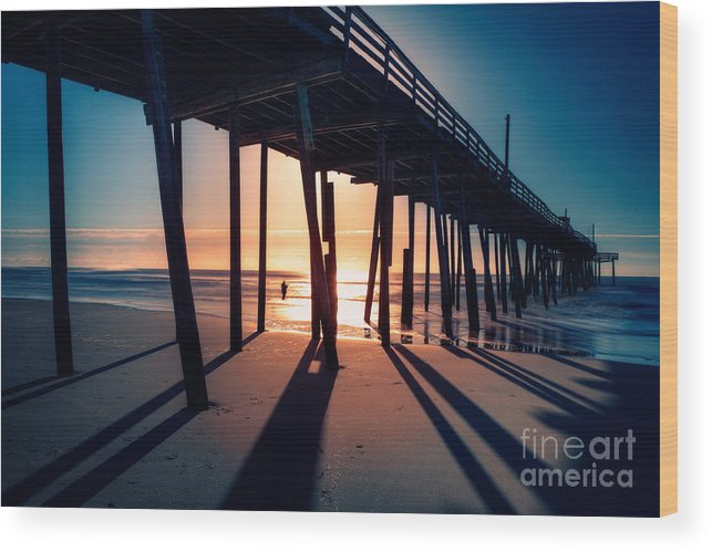 Outer Banks Wood Print featuring the photograph Fishing At Frisco Outer Banks by Dan Carmichael