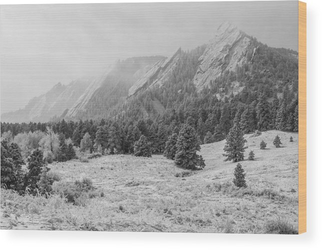 Flatirons Wood Print featuring the photograph Flatirons In Winter - Black And White by Aaron Spong
