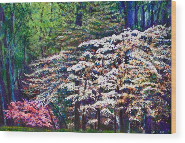Landscape Wood Print featuring the painting Floral Cathedral by Michael Durst