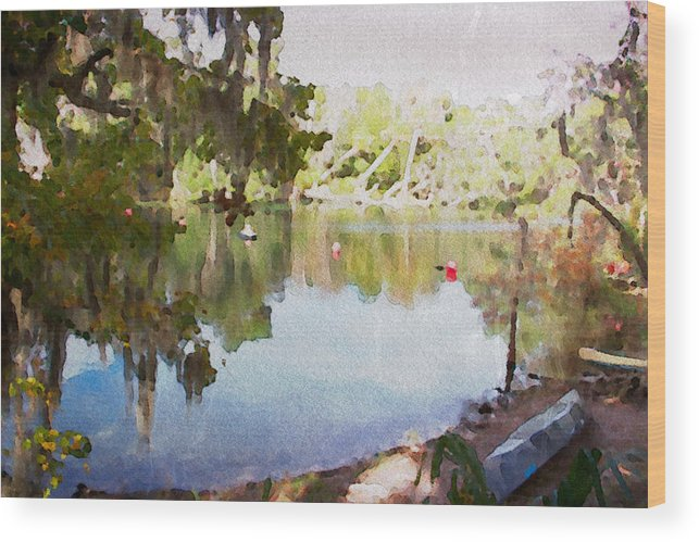 Florida Springs Blue Canoe Boat Scenic Alicegipsonphotographs Wood Print featuring the photograph Florida Springs Waiting by Alice Gipson