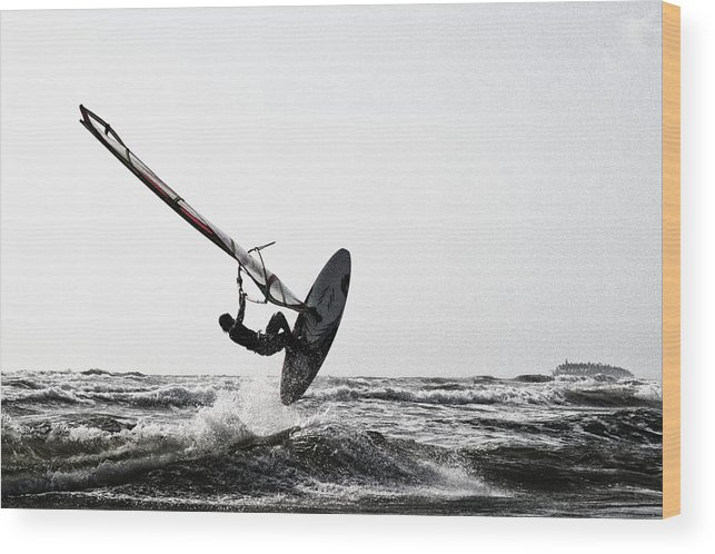 Windsurf Wood Print featuring the photograph Flying Over The Waves by Thierry CHRIN