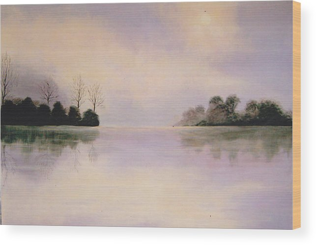 Foggy Wood Print featuring the painting Foggy Lake by Inna Bredereck