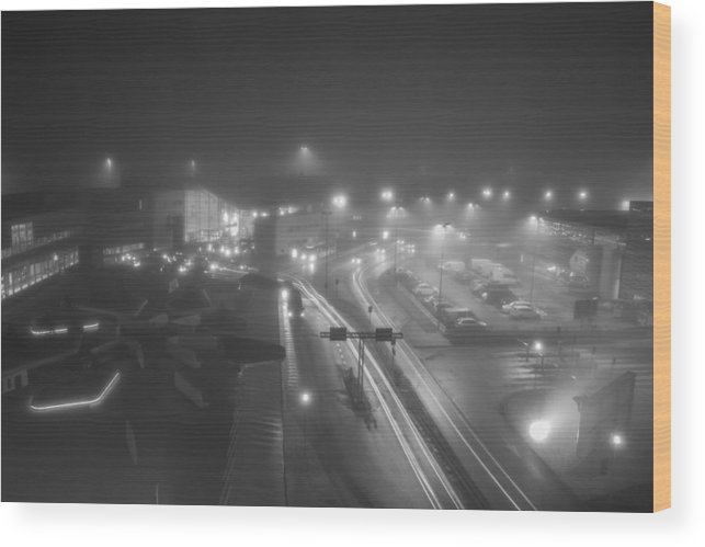Black & White Wood Print featuring the photograph Foggy Night by Christopher Sinclair