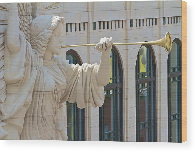 Fort Worth Wood Print featuring the photograph Fort Worth's Angel by John Babis