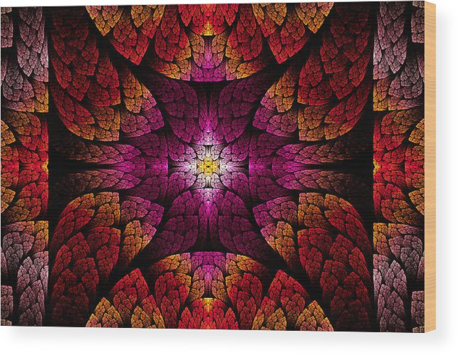 Abstract Wood Print featuring the digital art Fractal - Aztec - The All Seeing Eye by Mike Savad