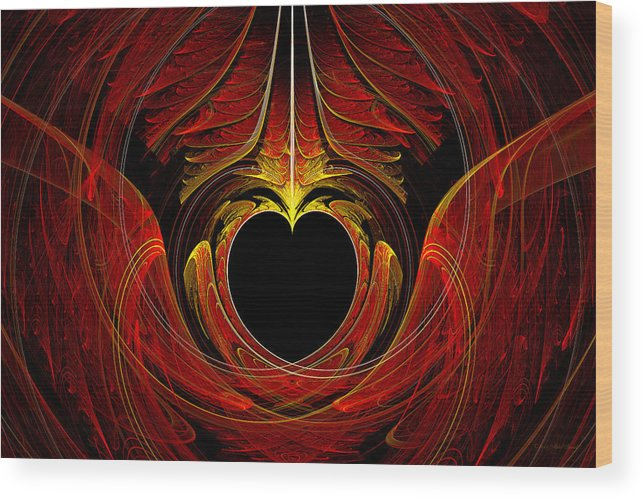 Abstract Wood Print featuring the digital art Fractal - Heart - Victorian Love by Mike Savad