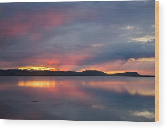 Sunset Wood Print featuring the photograph Freezeout Lake Sunset by Jack Bell