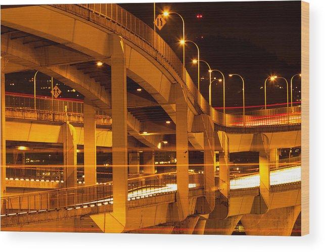 Fremont Bridge Wood Print featuring the photograph Fremont Bridge by Kunal Mehra