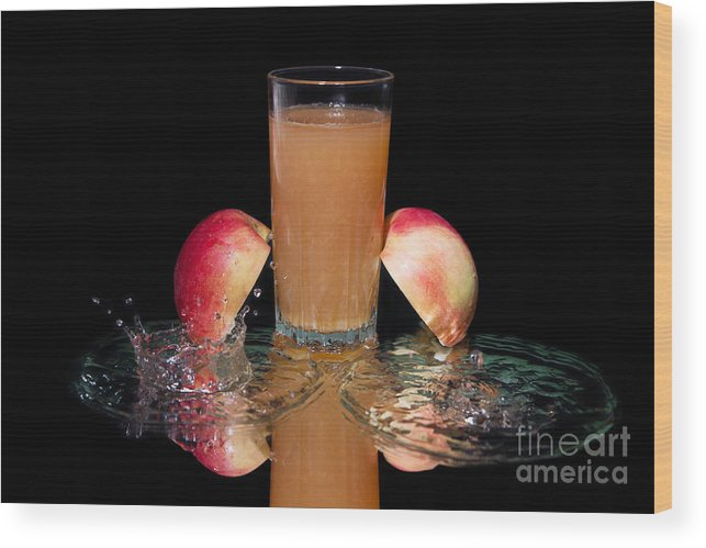 Food Wood Print featuring the photograph Fresh And Falling Liquid by Konstantin Smirnov