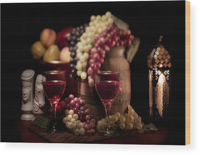 Aged Wood Print featuring the photograph Fruity Wine Still Life by Tom Mc Nemar
