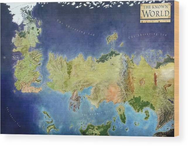Game Of Thrones World Map Wood Print Game Of Thrones Known World Map on game of thrones continents, game of thrones chart, ice and fire world map, game of thrones world map pdf, game of thrones maps and families, sca known world map,