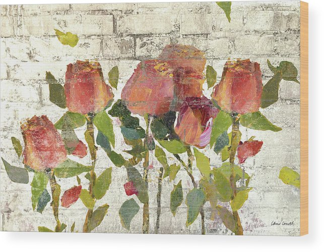 Golden Wood Print featuring the mixed media Garden Stems On Brick I by Lanie Loreth