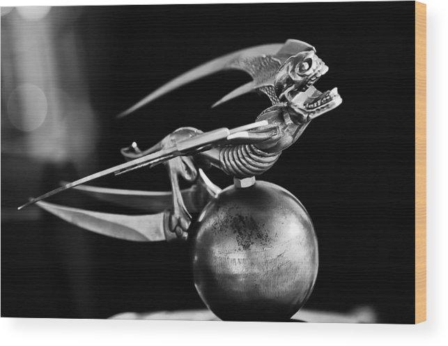 Gargoyle Wood Print featuring the photograph Gargoyle Hood Ornament 2 by Jill Reger
