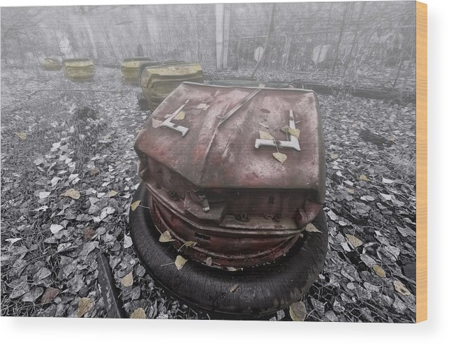Chernobyl Wood Print featuring the photograph Ghost Cars by Jason Green