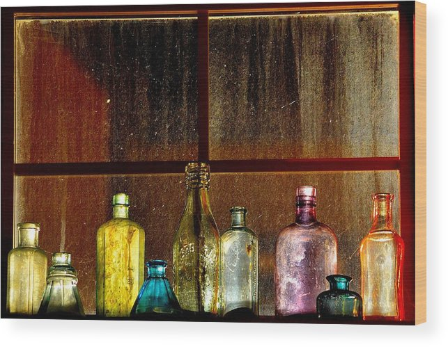 Old Wood Print featuring the photograph Ghostly Bottles by Vivian Sampson