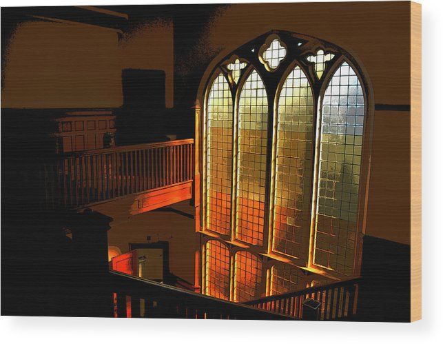 Window Wood Print featuring the photograph Glowing Stairs by Rhys Arithson